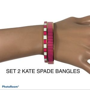Kate Spade New York 2 Pink Stripe Bangle Bracelets